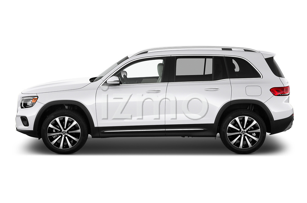 Car driver side profile view of a 2020 Mercedes Benz GLB GLB250 5 Door SUV