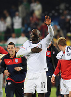 Jozy Altidore salutes U.S. crowd following dramatic win. The United States won Group C of the 2010 FIFA World Cup in dramatic fashion, 1-0, over Algeria in Pretoria's Loftus Versfeld Stadium, Wednesday, June 23rd..