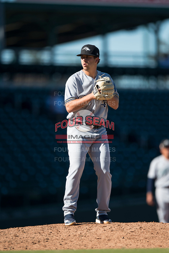 Peoria Javelinas relief pitcher Daniel Brown (49), of the Milwaukee Brewers organization, gets ready to deliver a pitch during an Arizona Fall League game against the Mesa Solar Sox at Sloan Park on November 6, 2018 in Mesa, Arizona. Mesa defeated Peoria 7-5 . (Zachary Lucy/Four Seam Images)