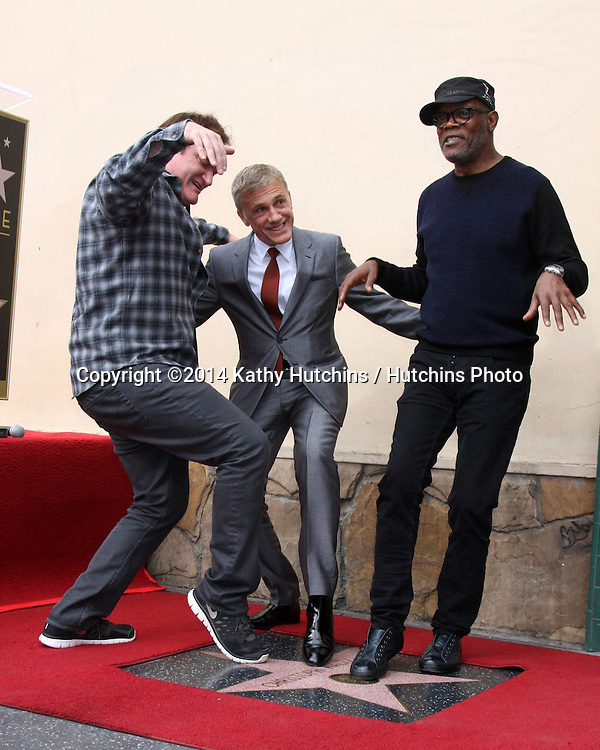 LOS ANGELES - DEC 1:  Quentin Tarantino, Christoph Waltz, Samuel L. Jackson at the Christoph Waltz Hollywood Walk of Fame Star Ceremony at the Hollywood Boulevard on December 1, 2014 in Los Angeles, CA