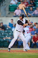 Arkansas Travelers right fielder Kyle Waldrop (10) at bat during a game against the Midland RockHounds on May 25, 2017 at Dickey-Stephens Park in Little Rock, Arkansas.  Midland defeated Arkansas 8-1.  (Mike Janes/Four Seam Images)