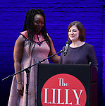 Jocelyn Bioh and Mandy Greenfield on stage during the 9th Annual LILLY Awards at the Minetta Lane Theatre on May 21,2018 in New York City.