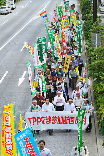 May 25th, 2013 : Tokyo, Japan - Demonstrators Marched against Trans-Pacific Strategic Economic Partnership Agreement, or TPP, at Shibakoen, Minato, Tokyo, Japan on May 25, 2013. According to a demonstration authority, there were more than 2,000 people showed up from all over the nation. (Photo by Koichiro Suzuki/AFLO)