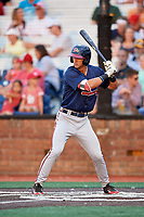 Danville Braves third baseman Brett Langhorne (23) at bat during a game against the Johnson City Cardinals on July 28, 2018 at TVA Credit Union Ballpark in Johnson City, Tennessee.  Danville defeated Johnson City 7-4.  (Mike Janes/Four Seam Images)
