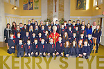 Pupils from Scoil Mhuire NS Currow with Bishop Ray Browne and Fr Nicolas Flynn, their Principal Mrs Margaret Hannafin, and class teachers Miss Falvey and Miss Foley at their Confirmation in the Church of the Immaculate Conception Currow on Tuesday