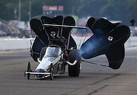 Aug 16, 2014; Brainerd, MN, USA; NHRA top alcohol dragster driver XXXX during qualifying for the Lucas Oil Nationals at Brainerd International Raceway. Mandatory Credit: Mark J. Rebilas-