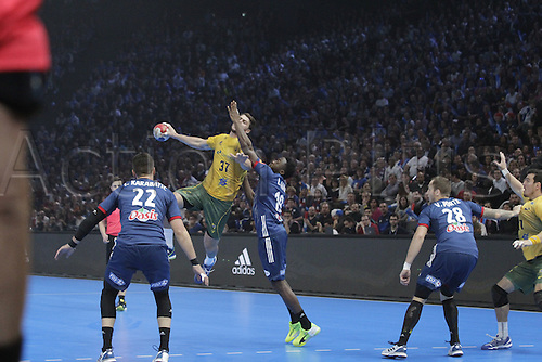 11.01.2017. Accor Arena, Paris, France. 25th World Handball Championships France versus Brazil.  Haniel Venicius Langaro  Brazil in action