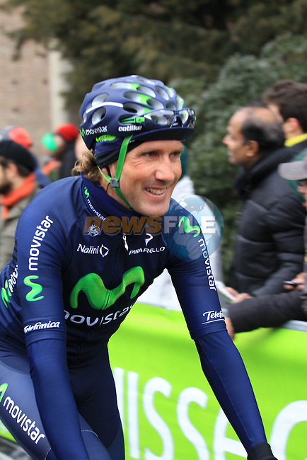 Pablo Lastras Garcia (ESP) Movistar Team all smiles at the sign on before the start of the 104th edition of the Milan-San Remo cycle race at Castello Sforzesco in Milan, 17th March 2013 (Photo by Eoin Clarke 2013)