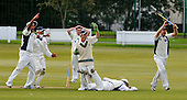 Cricket Scotland Scottish Cup - Uddingston CC V Dunfermline CC at Arbroath CC - premature celebration by Dunfermline claiming the wicket of prone Uddingston batsman Aamir Gul - however the Uddy batsman was given not out and went on to make 24 - Picture by Donald MacLeod - 20.08.11 - 07702 319 738 - www.donald-macleod.com