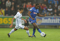 Bolton Wanderers' Clayton Donaldson under pressure from Swansea City's Kyle Naughton<br /> <br /> Photographer Kevin Barnes/CameraSport<br /> <br /> The EFL Sky Bet Championship - Swansea City v Bolton Wanderers - Saturday 2nd March 2019 - Liberty Stadium - Swansea<br /> <br /> World Copyright © 2019 CameraSport. All rights reserved. 43 Linden Ave. Countesthorpe. Leicester. England. LE8 5PG - Tel: +44 (0) 116 277 4147 - admin@camerasport.com - www.camerasport.com