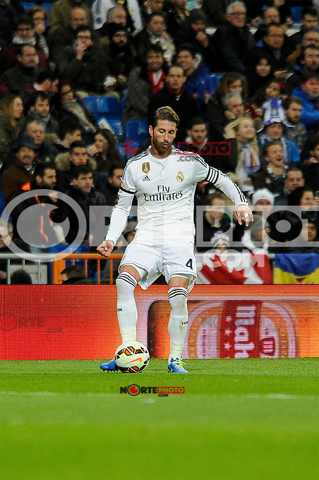 Real Madrid´s Sergio Ramos during 2014-15 La Liga match between Real Madrid and Levante UD at Santiago Bernabeu stadium in Madrid, Spain. March 15, 2015. (ALTERPHOTOS/Luis Fernandez) /NORTEphoto.com