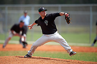 Plymouth State Panthers relief pitcher Sean Engel (26) delivers a pitch during the second game of a doubleheader against the Edgewood Eagles on March 17, 2016 at Lee County Player Development Complex in Fort Myers, Florida.  Plymouth State defeated Edgewood 16-3.  (Mike Janes/Four Seam Images)