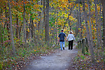 Clifton Gorge Park, Clifton Ohio, hikers in autumn