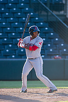 AZL Indians left fielder Ronny Dominguez (6) bats during a game against the AZL Angels on August 7, 2017 at Tempe Diablo Stadium in Tempe, Arizona. AZL Indians defeated the AZL Angels 5-3. (Zachary Lucy/Four Seam Images)