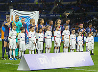 20191116 – LYON ,  FRANCE ; PSG's players (left to right) Irene Paredes, Christiane Endler, Hannah Glas, Paulina Dudek, Nadia Nadim, Diani Kadidiatou, Sarah Dabritz, Marie Katoto,  Grace Geyoro, Perle Morroni and Formiga are posing with the player escorts at the start of the women's soccer game between Olympique Lyonnais and PARIS SG on the 9th matchday of the French Women's first league , D1 of the 2019-2020 season , Saturday 16 th November 2019 at the Groupama stadium in Lyon , France . PHOTO SPORTPIX.BE   SEVIL OKTEM