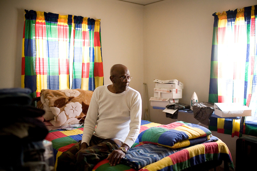 Robert Dixon, Sr., in the room he's kept for his son, Robert Dixon, Jr., who was denied parole after a psychological evaluation deemed him a psychopath despite transforming his life through completing education courses and self-improvement seminars, at his home, in Stockton, Ca., on Saturday, May 14, 2011.