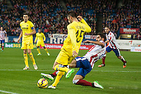 Atletico de Madrid´s Raul Garcia and Villarreal´s Victor Ruiz during 2014-15 La Liga match between Atletico de Madrid and Villarreal at Vicente Calderon stadium in Madrid, Spain. December 14, 2014. (ALTERPHOTOS/Luis Fernandez) /NortePhoto