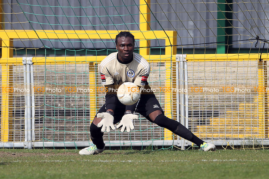 Atu Ngoy (Romford) makes a save - Romford vs Brentwood Town - Ryman League Division One North Football at Ship Lane, Thurrock FC - 21/04/14 - MANDATORY CREDIT: Mick Kearns/TGSPHOTO - Self billing applies where appropriate - 0845 094 6026 - contact@tgsphoto.co.uk - NO UNPAID USE