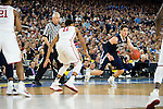 02 APR 2016: Guard Ryan Arcidiacono (15) of Villanova University dribbles around the arc in front of Guard Isiah Cousins (11) of the University of Oklahoma during the 2016 NCAA Men's Division I Basketball Final Four Semifinal game held at NRG Stadium in Houston, TX. Villanova defeated Oklahoma 95-51 to advance to the championship game. Brett Wilhelm/NCAA Photos