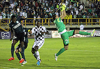 TUNJA -COLOMBIA, 1-ABRIL -2015. Franco Armani guardameta del Atletico Nacional en accion contra el Chico FC.   durante la catorceava   fecha de La Liga Aguila jugado en el estadio La Independencia de la ciudad de Tunja   . /  Franco Armabi goalkeeper of Atletico Nacional  in actions   against   of Chico FC  during the fourteenth round of La Liga Aguila played at La Independencia  stadium in Tunja City . Photo / VizzorImage / Cesar Melgarejo  / Stringer