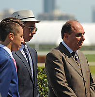 HALLANDALE BEACH, FL - APRIL 01: Trainer Antonio Sano visits the winner's circle during an undercard. Scenes from Florida Derby Day at Gulfstream Park on April 01, 2017 in Hallandale Beach, Florida. (Photo by Carson Dennis/Eclipse Sportswire/Getty Images)