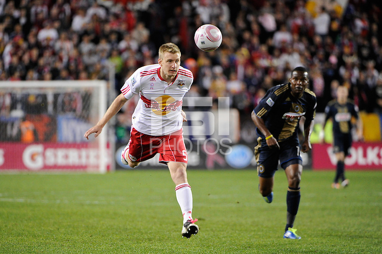 Tim Ream (5) of the New York Red Bulls heads the ball back to the 'keeper. The New York Red Bulls defeated the Philadelphia Union  1-0 during a Major League Soccer (MLS) match at Red Bull Arena in Harrison, NJ, on October 20, 2011.