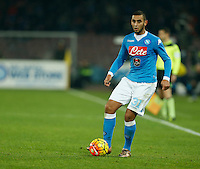 Napoli's Faouzi Ghoulam  during the  italian serie a soccer match,between SSC Napoli and AS Roma       at  the San  Paolo   stadium in Naples  Italy ,December 13, 2015