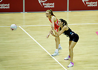 20.01.2018 Kayla Cullen of Silver Ferns and Helen Housby of the England Roses during the Netball Quad Series netball match between England Roses and Silver Ferns at the Copper Box Arena in London. Mandatory Photo Credit: ©Ben Queenborough/Michael Bradley Photography
