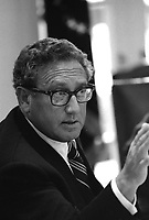 Secretary of State Henry Kissinger making a point during a meeting following the assassinations of Ambassador Francis E. Meloy, Jr. and Economic Counselor Robert O. Waring in Beirut, Lebanon.  17 June 1976
