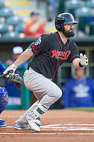 Nashville Sounds left fielder Jason Pridie (14) heads to first base after a hit in the Pacific Coast League game against the Oklahoma City Dodgers at Chickasaw Bricktown Ballpark on April 15, 2015 in Oklahoma City, Oklahoma. Oklahoma City won 6-5. (William Purnell/Four Seam Images)