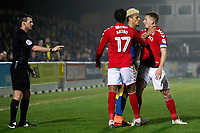 Lyle Taylor of AFC Wimbledon has hands on Jason Pearce of Charlton Athletic during the Sky Bet League 1 match between AFC Wimbledon and Charlton Athletic at the Cherry Red Records Stadium, Kingston, England on 10 April 2018. Photo by Carlton Myrie / PRiME Media Images.