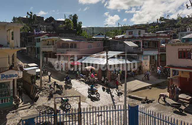 Hurricane Matthew aftermath in Jeremie, a 30,000 people town destroyed by the phenomena. Abnout  900 people resulted killed  in Haiti by the Hurricane Matthew,  thousands are  homeless.<br /> The poorest country in the Western Hemisphere has never completely recovered from a devastating earthquake in 2010.<br /> The Haitian town of Jeremie with a population of 30,000 &ldquo;is completely destroyed,&rdquo; said Care Haiti director Jean-Michel Vigreux.<br /> The United Nations said nearly 6 million Haitians have been affected by the storm with 350,000 people still needing immediate aid. Cholera outbreak is a major problem right now.