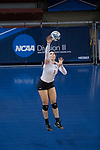 GRAND RAPIDS, MI - NOVEMBER 18: Madison Manger (1) of Wittenberg University serves the ball during the Division III Women's Volleyball Championship held at Van Noord Arena on November 18, 2017 in Grand Rapids, Michigan. Claremont-M-S defeated Wittenberg 3-0 to win the National Championship. (Photo by Doug Stroud/NCAA Photos via Getty Images)