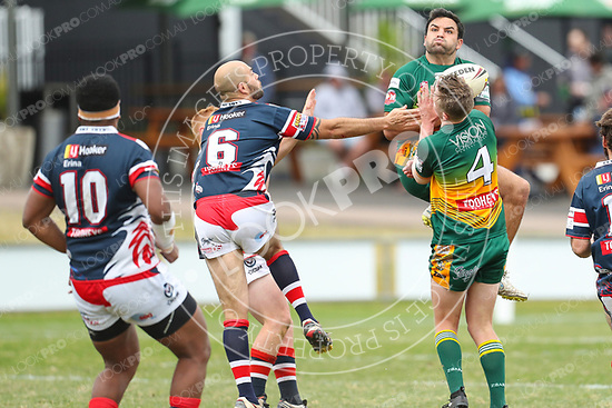 The Wyong Roos play Erina Eagles in Round 18 of the Open Age Central Coast Rugby League Division at Morry Breen Oval on 20 August, 2017 in Kanwal, NSW Australia. (Photo by Paul Barkley/LookPro)