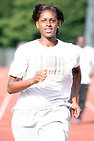 Haringey athlete Rachel Telfer in training..New River Stadium, July 12, 2010.