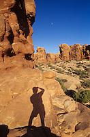 Photographer's shadow-Arches National Park, Utah