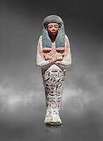 Ancient Egyptian shabtis doll, lwood, New Kingdom, 18th Dynasty, (1538-1040 BC), Deir el Medina. Egyptian Museum, Turin.Grey background. <br /> <br /> shabti figures began to occur in Middle Kingdom tombs with a twofold nature: on <br /> the one hand, they were meant to be images of their owners, representatives of the deceased in the realm of the Lord of Eternity. <br /> On the other hand, they were also considered to be servants of the deceased, taking the role of the servant statues. The complex <br /> nature of the shabti figure as a substitute of both the owner and his or her servants remains unaltered during the New Kingdom
