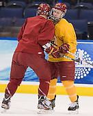 TJ Schlueter (FSU - 12), Chad Billins (FSU - 4) - The Ferris State University Bulldogs practiced on Wednesday, April 4, 2012, during the 2012 Frozen Four at the Tampa Bay Times Forum in Tampa, Florida.