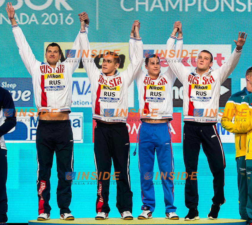 Russia RUS Gold Medal<br /> Men's 4x100m Freestyle <br /> LOBINTSEV Nikita VEKOVISHCHEV Mikhail MOROZOV Vladimir  POPKOV Aleksandr<br /> 13th Fina World Swimming Championships 25m <br /> Windsor  Dec. 6th, 2016 - Day01 Finals<br /> WFCU Centre - Windsor Ontario Canada CAN <br /> 20161206 WFCU Centre - Windsor Ontario Canada CAN <br /> Photo &copy; Giorgio Scala/Deepbluemedia/Insidefoto