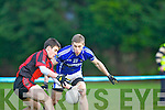 Gavan O'Grady Glenbeigh/Glencar mesmerises Peter Crowley Laune Rangers during the Mid Kerry Championship final in Beaufort on Saturday