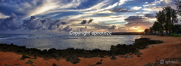 Stitched Panorama of Kaiaka Bay Sunrise