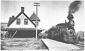 RGS 2-8-0 #13 at Ridgway depot with passenger train.<br /> RGS  Ridgway, CO  Taken by Carlson, Emil - summer 1909