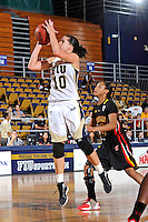 25 November 2011:  FIU guard Fanni Hutlassa (10) shoots a jump shot while Maryland guard Brene Moseley (3) watches in the second half as the University of Maryland Terrapins defeated the FIU Golden Panthers, 84-52, at the U.S. Century Bank Arena in Miami, Florida.