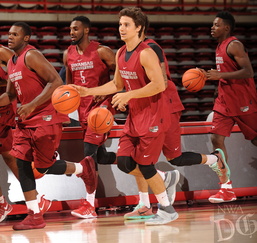 NWA Democrat-Gazette/ANDY SHUPE<br /> Arkansas' Dusty Hannahs participates in practice Wednesday, Oct. 5, 2016, in Bud Walton Arena. Visit nwadg.com/photos to see more photos from Media Day and practice.