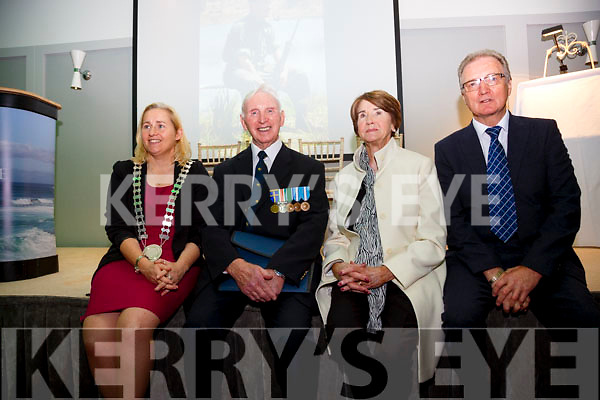 Pictured at the Plaque unveiling to Commandant Pat Quinlan at the Sea Lodge in Waterville on Saturday were l-r; Cllr Norma Moriarty, Captain Noel Carey(Retired) Platoon Commander Jadotville, his wife Angela Carey & Commandant Leo Quinlan(Retired).
