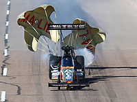 Feb 23, 2019; Chandler, AZ, USA; NHRA top fuel driver Terry McMillen during qualifying for the Arizona Nationals at Wild Horse Pass Motorsports Park. Mandatory Credit: Mark J. Rebilas-USA TODAY Sports