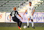 19 May 2012: PSA Elite's Joel Smith (right) and Carolina's Cory Elenio (26). The Carolina RailHawks (NASL) defeated the PSA Elite (USASA) 6-0 at WakeMed Soccer Stadium in Cary, NC in a 2012 Lamar Hunt U.S. Open Cup second round game.