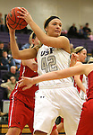 SIOUX FALLS, SD - JANUARY 16:  Amber Paden #42 from the University of Sioux Falls controls the ball against Minnesota Moorhead in the second half of their game Friday night at the Stewart Center.  (Photo by Dave Eggen/Inertia)