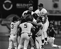 7 June 1987: The Stanford baseball team celebrates the final out of the 1987 College World Series. The championship was the first in Stanford baseball history.