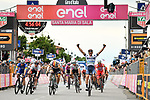 Damiano Cima (ITA) Nippo-Vini Fantini-Faizane from the breakaway holds off the charging peloton, including German Champion Pascal Ackermann (GER) Bora-Hansgrohe, to win Stage 18 of the 2019 Giro d'Italia, running 222km from Valdaora-Olang to Santa Maria di Sala, Italy. 30th May 2019<br /> Picture: Massimo Paolone/LaPresse | Cyclefile<br /> <br /> All photos usage must carry mandatory copyright credit (© Cyclefile | Massimo Paolone/LaPresse)